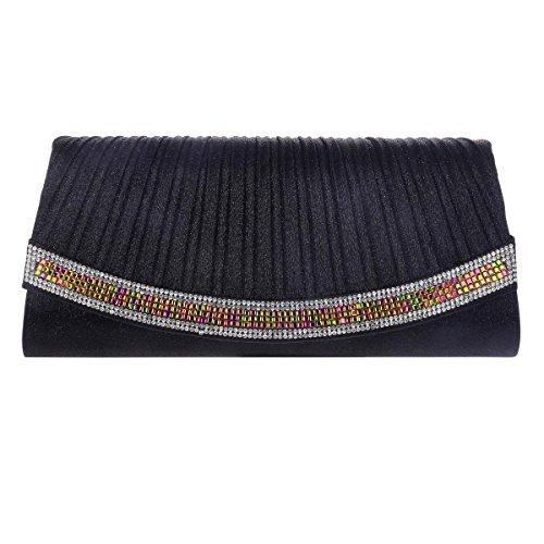 Clutch Wedding Damara Womens Stylish Glitter Party Black Crystal Pleated q0vTw01