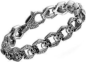 COOLMAN Bracelet pour Homme Gothique Punk Bracelet en Acier Inoxydable 21.5cm