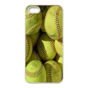 Softball Series, IPhone 5,5S Case, Yellow Softball Case for IPhone 5,5S [White]