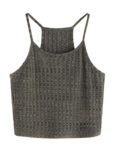 SheIn Women's Summer Basic Sexy Strappy Sleeveless Racerback Crop Top Medium Olive - Sexy Tank Racerback Rib
