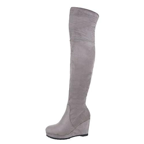 Stiefel Keilabsatz Damen Schuhe Klassischer Overknee Keilabsatzwedge Reißverschluss Ital Design 9WEH2IDY