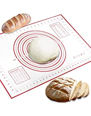 Conleke Silicone Pastry Mat for Pastry Rolling with Measurements, 15.7in x 23.6in Non-Slip Non-Stick Silicone Pastry Mat for Baking Dough Rolling Mat Pie Crust Mat Oven Liner(Red,40cm x 60cm)