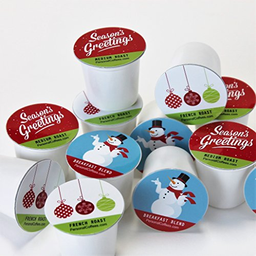 SEASON'S GREETINGS Single Serve Coffee Variety Cups - 24 Cups In A Keepsake Wooden Gift Box