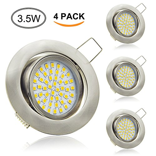 Aptoyu LED Einbaustrahler Set Ultra Flach 3.5W 350 Lumen 230V Warmweiß Spots Schwenkbar Einbauspots Einbauleuchten Strahler 4er Pack
