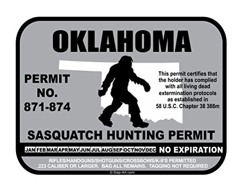 Oklahoma Sasquatch Hunting Permit License Bigfoot Vinyl Sticker Decal