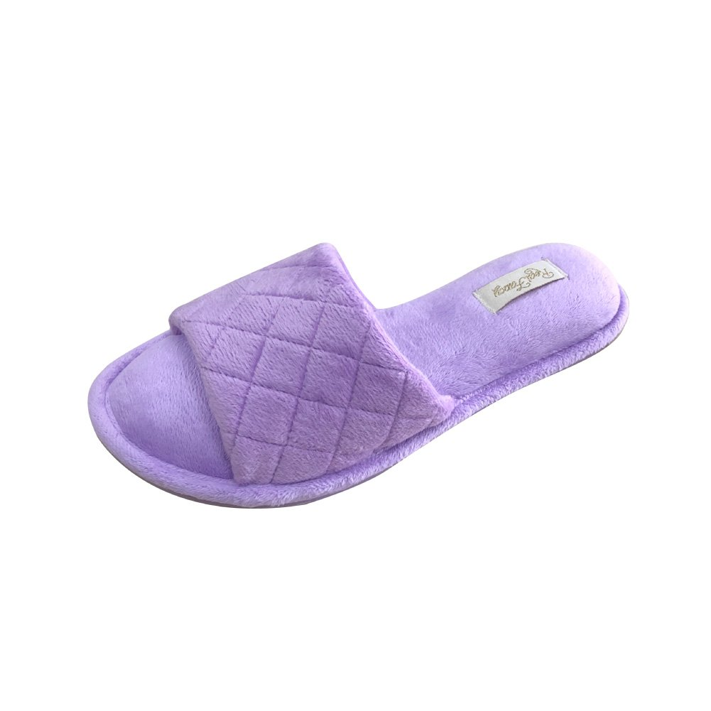 Real Fancy Open Toe Slippers for Women Terrycloth with Comfy Velvet Lining Spa House Slipper (L, Purple)