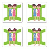 Ambesonne Zodiac Gemini Coaster Set of Four, Green Sign Background with Twin Girl Cartoon Characters for Teens and Kids, Square Hardboard Gloss Coasters for Drinks, Multicolor