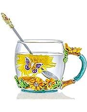 EveCase Lot de tasses à café en verre sans plomb avec cuillère en acier Motif papillons et fleurs