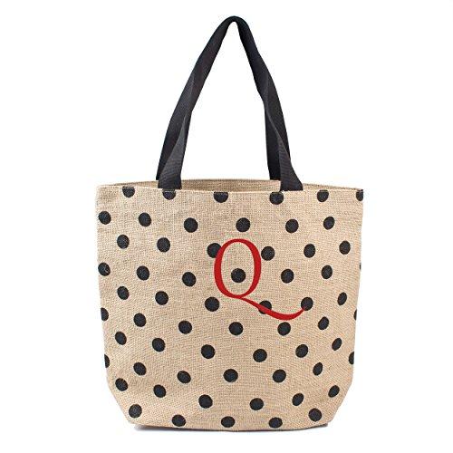 Cathy's Concepts Polka Dot Jute Tote Bag, Monogram Q, Black