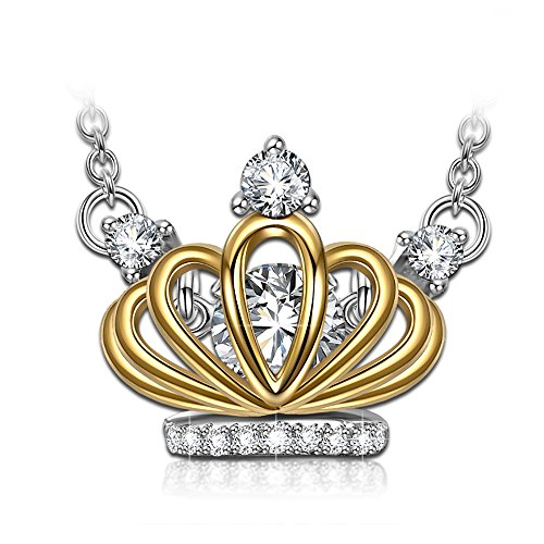 DANCING HEART Gold Crown Necklace for Girls Necklaces 925 Sterling Silver Necklace for Women Pendant Swarovski Necklace Jewelry for Women Necklace Gifts for her