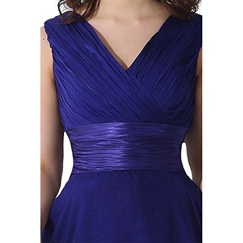Blue Chiffon Women's Gowns Royal Short V Neck Dress Bridesmaid Drasawee Prom Evening HpP4qW