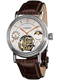 Men's AKR493SSBR Limited Edition Genuine Mechanical Tourbillon Moonphase Watch