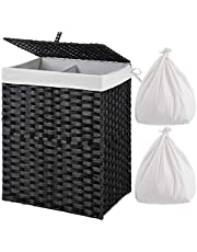 Greenstell Laundry Hamper with 2 Removable Liner Bags, Divided Handwoven Synthetic Rattan Laundry Basket,Panier à Linge with Lid and Handles, Foldable & Easy to Install Storage Basket