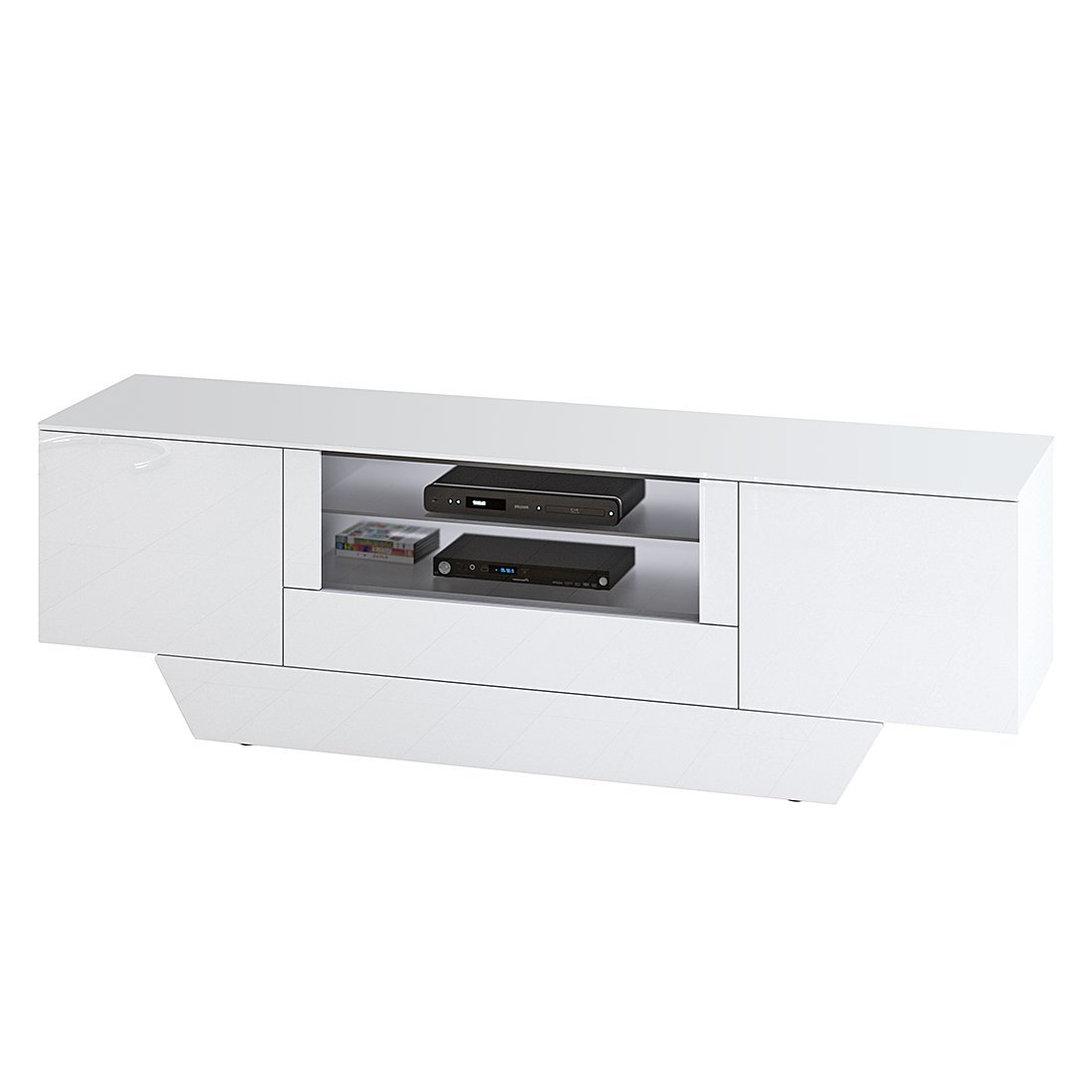 jahnke tv rack Jahnke Studio Rack 2100 SV (M) HG WS-WS T.1-3 TV Stand Chipboard, Melamine  Coated Tempered Safety Glass, Polished White, 213 x 45.5 x 68 cm: Jahnke:  ...