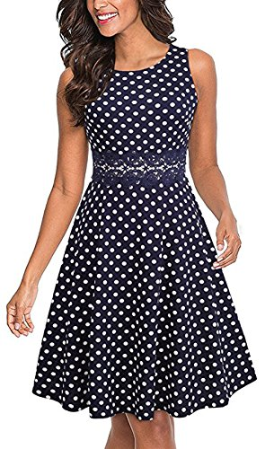 Merope J Sleeveless Lace Waist A-Line Vintage Cocktail Evening Summer Dresses for Women(L,Polka Dot)
