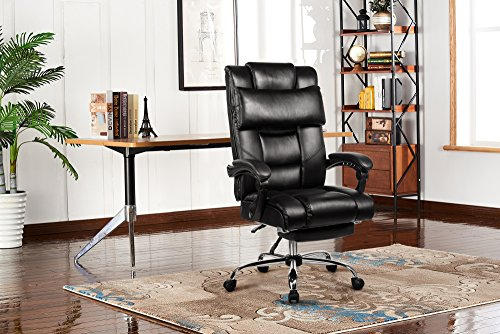 VANBOW Reclining Office Chair - High Back Bonded Leather Executive Chair with Retractable Footrest, Removable Pillow, Adjustable Angle Recline Lock System, Ergonomic Design, Black by VANBOW (Image #6)