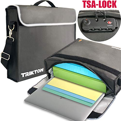 Lock Fold - Trikton Fireproof Bag for Documents, XL Black with TSA-Lock, Visible in The Dark, Stores Bulky Binders Without Fold Them, X-Large (15