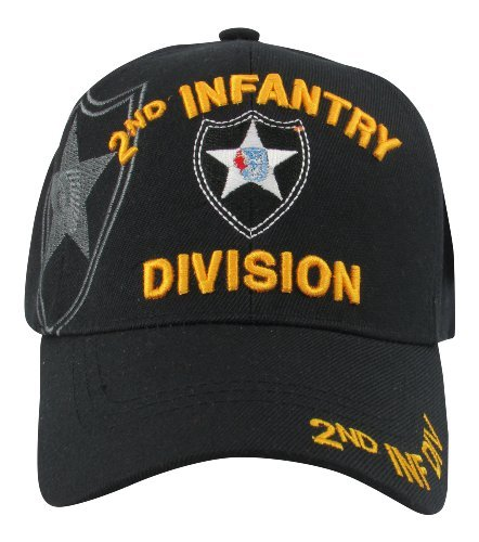 US Warriors US Army 2nd Infantry Division Baseball Hat, One Size, Black