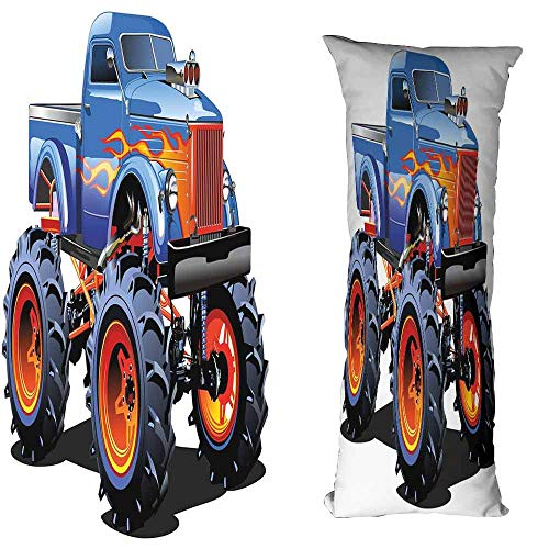 duommhome Man Cave Decor Simple Pillowcase Cartoon Monster Truck Huge Tyres Off-Road Heavy Large Tractor Wheels Turbo Machine Washable W15.7X L47.2 inch -