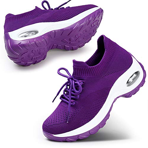 STQ Women's Walking Shoes Casual Comfortable Fashion Sneakers Breathable Athletic Running Gym Shoes Purple 8