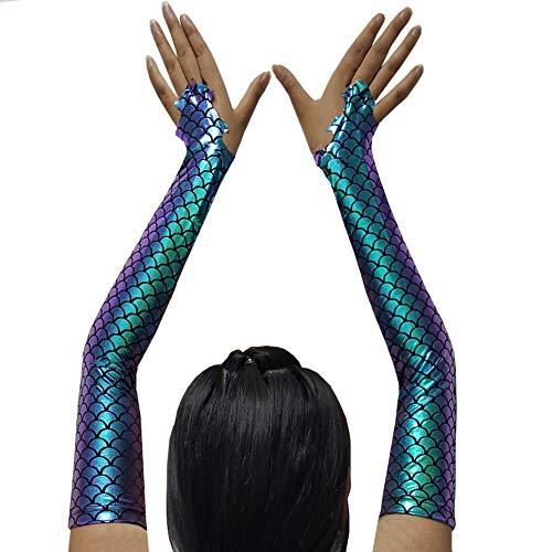 pinda Adult Halloween Costume Accessory Mermaid Arm Sleeves (Green)