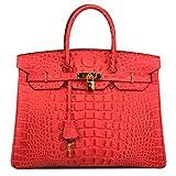 Ainifeel Women's Crocodile Embossed Office Handbag Top Handle Handbag (30cm, Red)