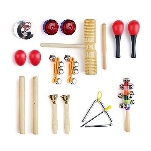Lightwish - 10 PCS Instruments Set with Maracas, Rhythm sticks, Nylon Wrist Bell, Wood Sounder, Triangle with striker, Cymbals, Castanets, Bells, Maracas Eggs and Rattle with Carrying Case