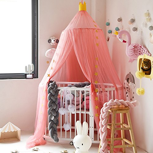 Didihou Mosquito Net Bed Canopy Yarn Play Tent Bedding for Kids Playing Reading Dome Netting Curtains Baby Boys and Girls Games House (Watermelon Red)