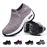Women's Slip on Walking Shoes - Comfortable Loafers Casual Non-Slip Nursing Shoes Fashion Sneakers Platform Khaki,5