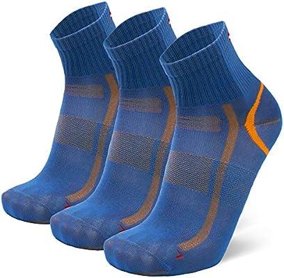 DANISH ENDURANCE Calcetines Deportivos Quarter Pro 3 Pares (Azul/Naranja, EU 39-42): Amazon.es: Ropa y accesorios