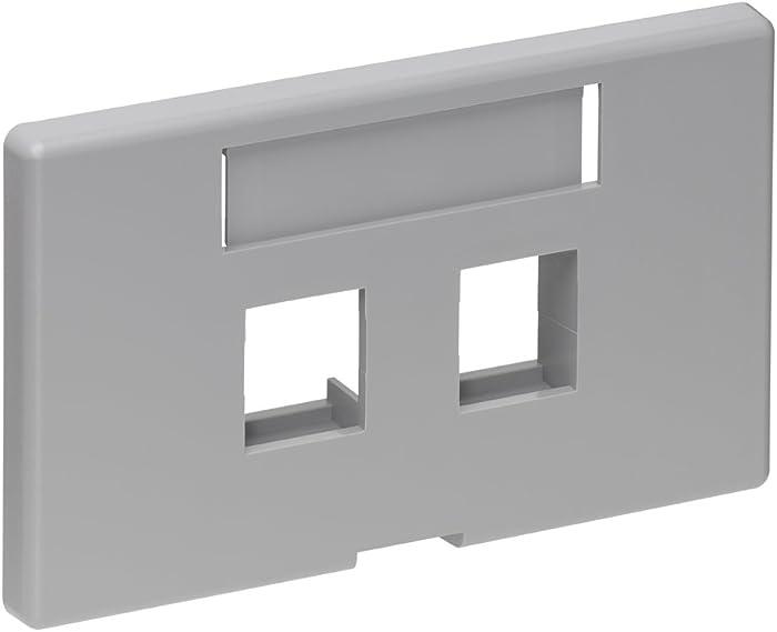 Leviton 49910-HG2 2-Port QuickPort Modular Furniture Faceplate, Grey,White