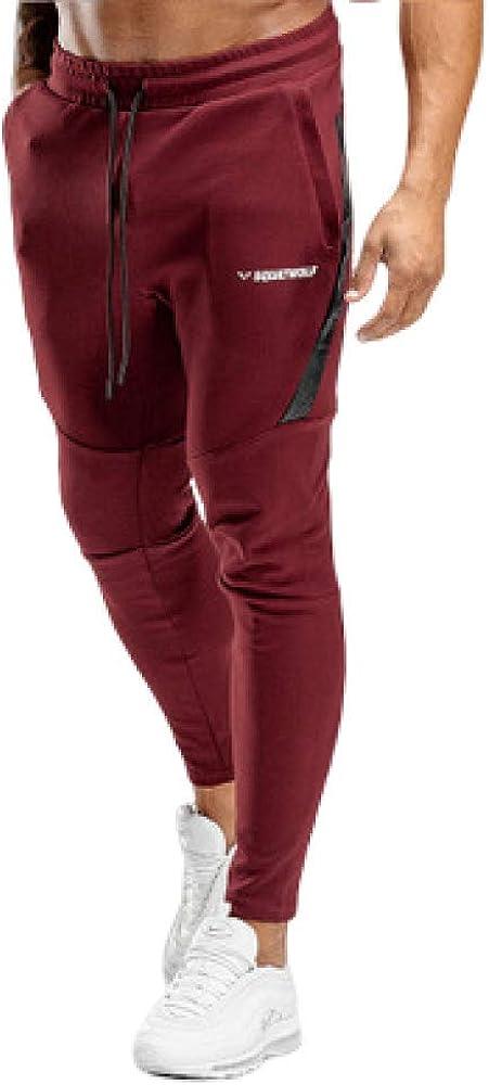 brandless Pantalones de Hombre Pantalones Deportivos de Moda Delgados Pantalones de Entrenamiento Deportivos con Cordones Lisos Ocasionales