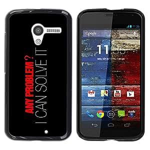 YiPhone /// Prima de resorte delgada de la cubierta del caso de Shell Armor - Any Problem? I can Solve It - Motorola Moto X 1 1st GEN I XT1058 XT1053 XT1052 XT1056 XT1060 XT1055