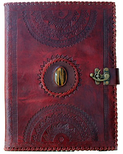 BLF Vintage Handmade Embossed Leather Portfolio Resume pad folio Cover File Folder Professional Business Organizer Notepad Holder Perfect Office and D…