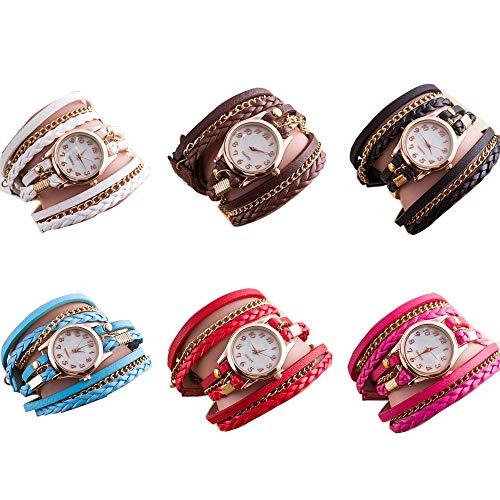 (RBuy 6 Pack Multi Layers Wrap Around Leather Bracelet Quartz Watches Women Lady Girls Men Gift)