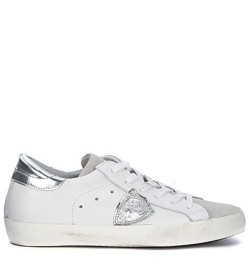Philippe Model Sneaker Modello Paris in Pelle Bianca e Argento  Amazon.it  Scarpe  e borse dc311866ff1
