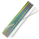 Stainless steel straws iridescence colors, Fits 20 oz Tumbler, Extra Long Reusable Ecofriendly (20oz, straight)