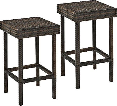 Crosley Furniture Palm Harbor Outdoor Wicker 24-inch Stools - Brown (Set of 2) (Style Bar Wicker Stools)
