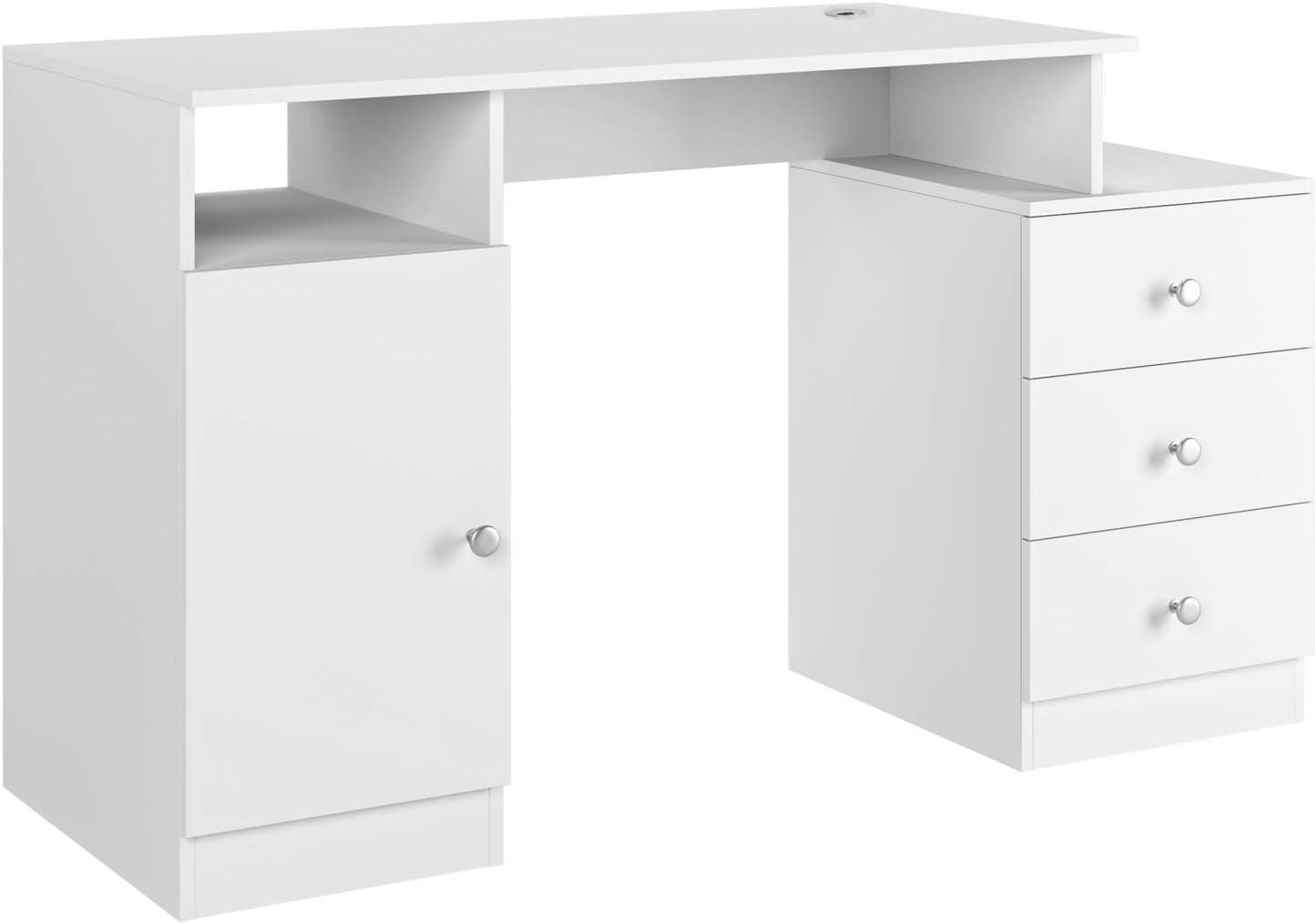 PC Tisch mit Kabeldurchf/ührung f/ürs B/üro Arbeitszimmer wei/ß matt 133x50x75.5cm Homfa Schreibtisch Computertisch mit 3 Schubladen und 1 Unterschrank B/ürotisch Arbeitstisch aus Holz