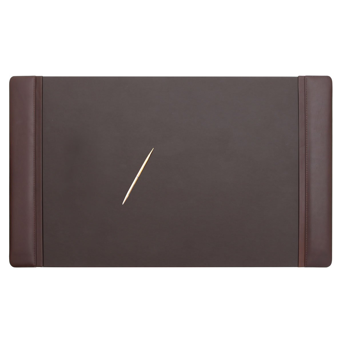 Dacasso Chocolate Brown Leather 34 by 20-Inch Desk Pad with Side Rails