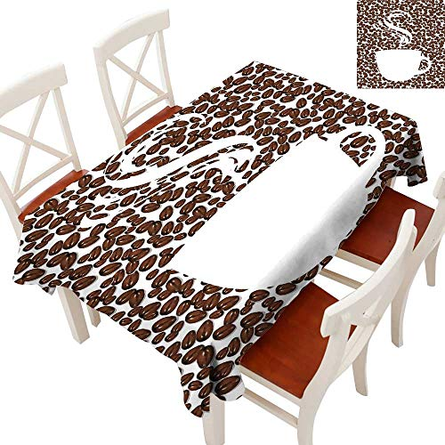 Coffee Rectangle Tablecloth Piping Hot Java Cup Silhouette on Fresh and Aromatic Arabica Beans Gourmet Choice Washable Polyester - Great for Buffet Table, Parties, Holiday Dinner, Wedding & MoreBrown