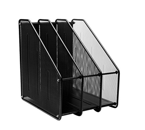 MyGift Metal Mesh Magazine Holder Desktop File Storage Organizer Rack Black