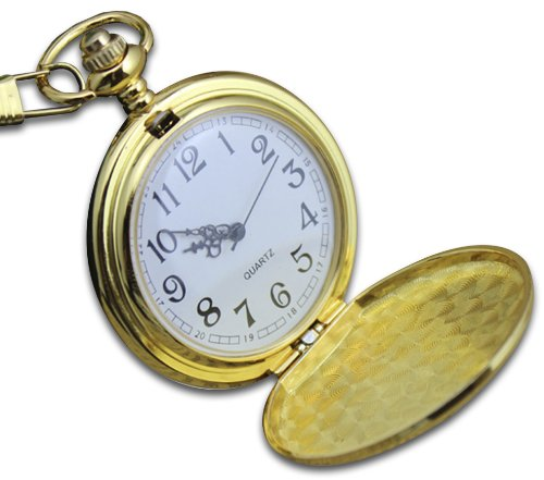 Gold Hunters Case Pocket Watch (Classic Pocket Watch - Gold, Hunter Case, 14'' Chain, Comes in Silk-Lined Gift)