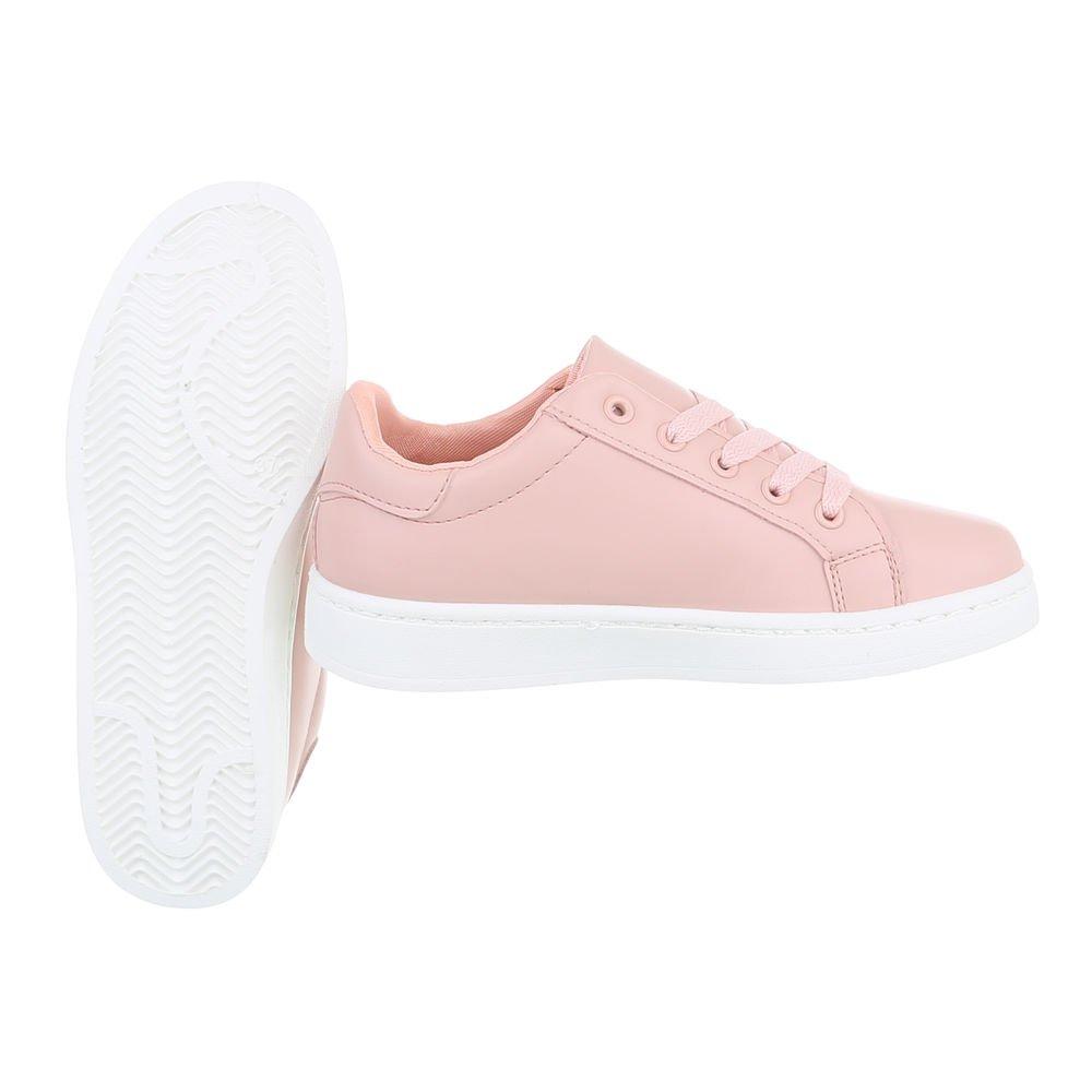 Ital-Design Damenschuhe Freizeitschuhe Sneakers Rosa Low Rosa Sneakers W-125 471314
