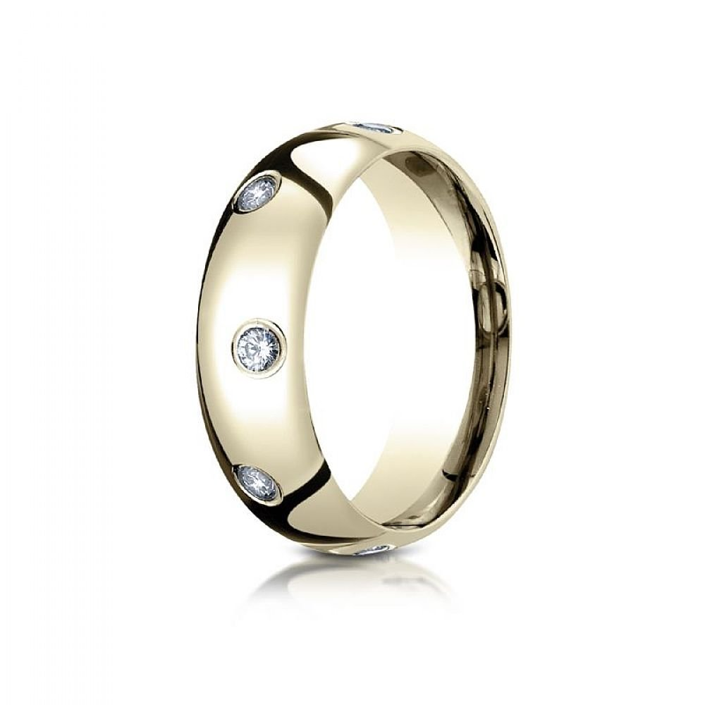18k Yellow Gold 6mm Comfort-Fit Burnish Set 8-Stone Diamond Eternity Ring .32ct - Size 12
