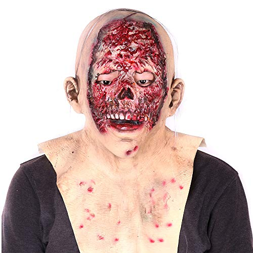 ALWONDER Halloween Mask Cosplay Costume Biochemical Rotten Forehead Scary Full Face Zombie Mask Horror Theme Party Relastic Latex Prop Big for $<!--$15.99-->