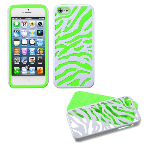 White Zebra Lime Fusion Dual Layer Apple iPhone 5 Hybrid Faceplate Cover Case Soft Rubber Protector Skin Hard Cover Case fits Sprint, Verizon, AT&T Wireless