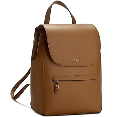 62264ca636ce Lauren Ralph Lauren Womens Dryden Ellen Leather Flap Backpack Brown Medium   Amazon.co.uk  Clothing