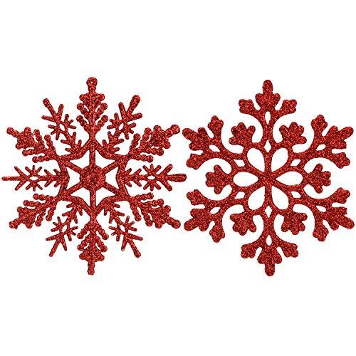 Sea Team Plastic Christmas Glitter Snowflake Ornaments Christmas Tree Decorations, 4-inch, Set of 36, Red (Decorations Tree Christmas Set)