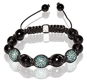 Buddha Bracelet Unisex & Adjustable In Black & Aqua (Item Includes Gift Box)
